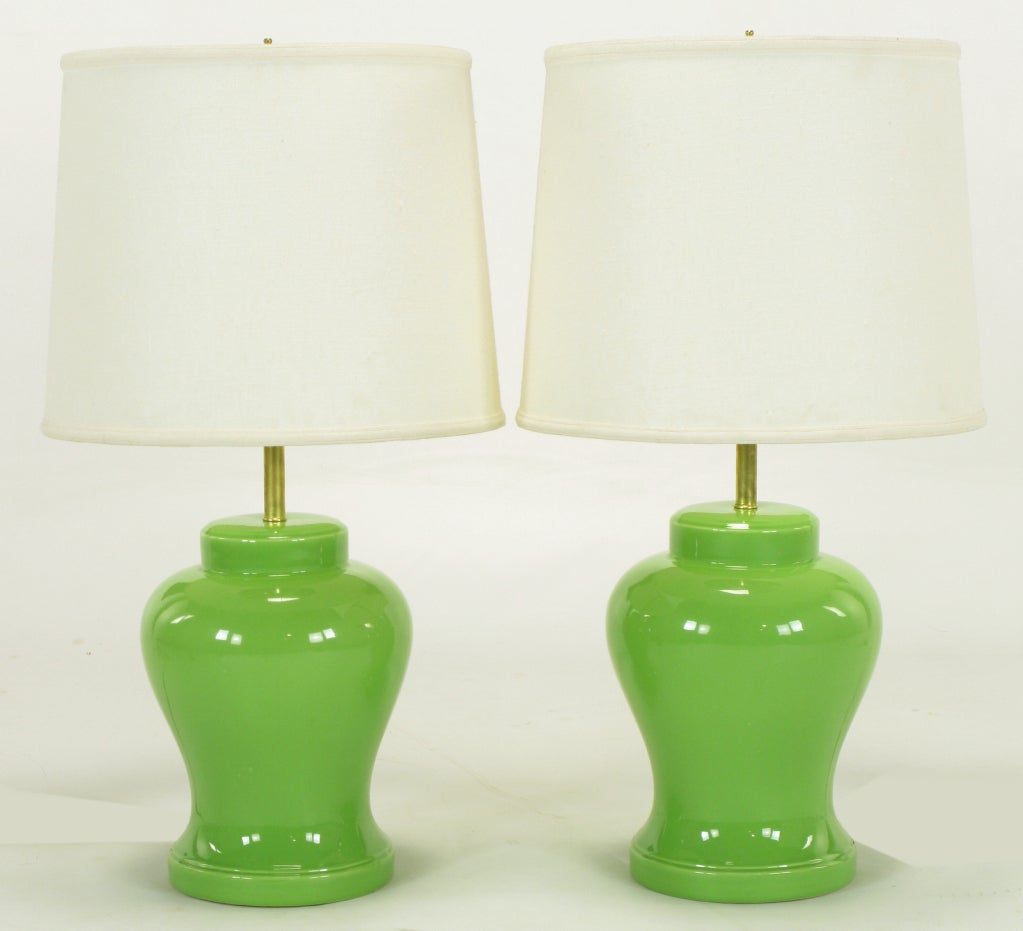pair chartreuse ceramic ginger jar table lamps image 2. Black Bedroom Furniture Sets. Home Design Ideas