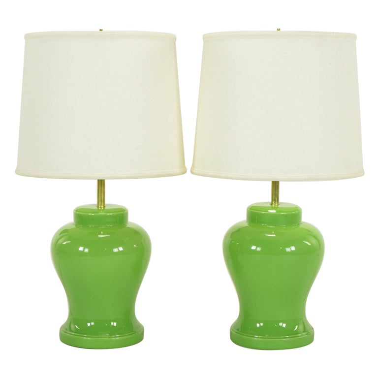 pair chartreuse ceramic ginger jar table lamps at 1stdibs. Black Bedroom Furniture Sets. Home Design Ideas