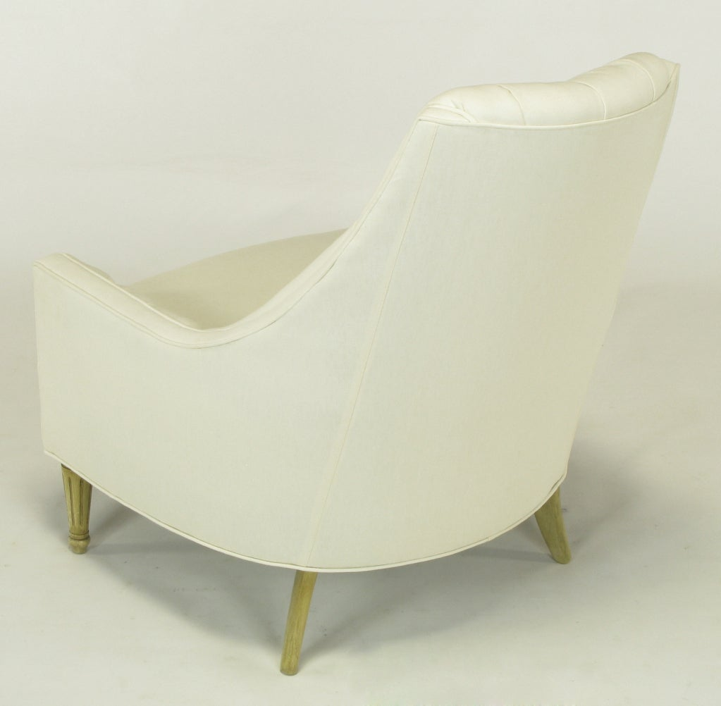 Pair High Back Button Tufted White Linen Lounge Chairs At