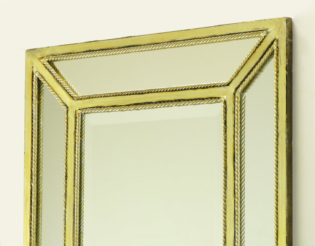 Italian Aged Silver Leaf Mirror with Rope Border In Good Condition For Sale In Chicago, IL