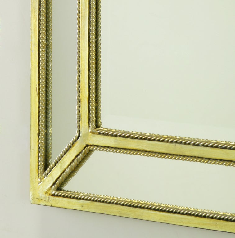 Mid-20th Century Italian Aged Silver Leaf Mirror with Rope Border For Sale