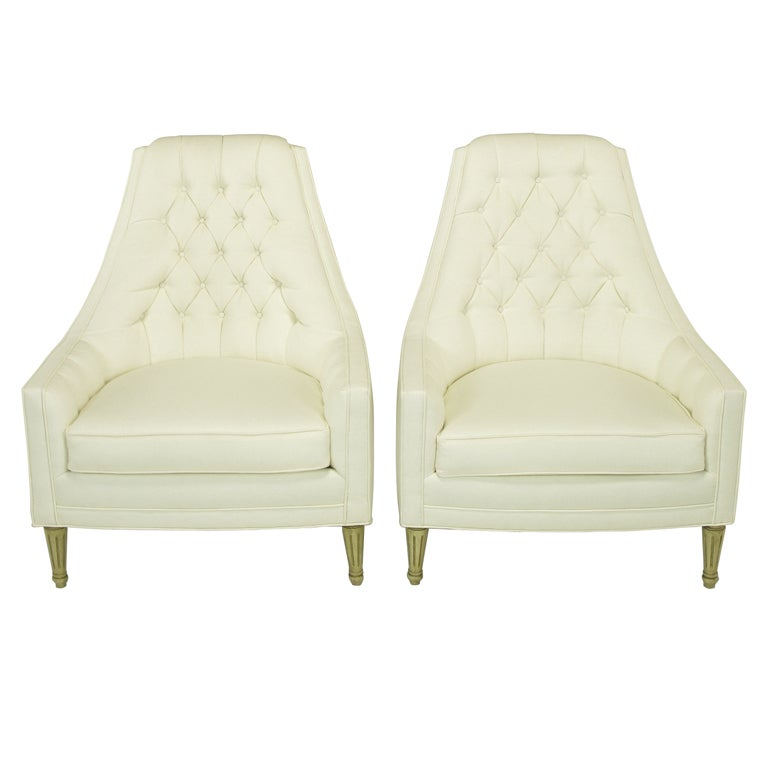 Pair High Back Button Tufted White Linen Lounge Chairs at 1stdibs