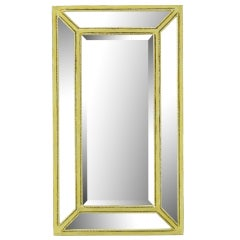 Italian Aged Silver Leaf Mirror With Rope Border