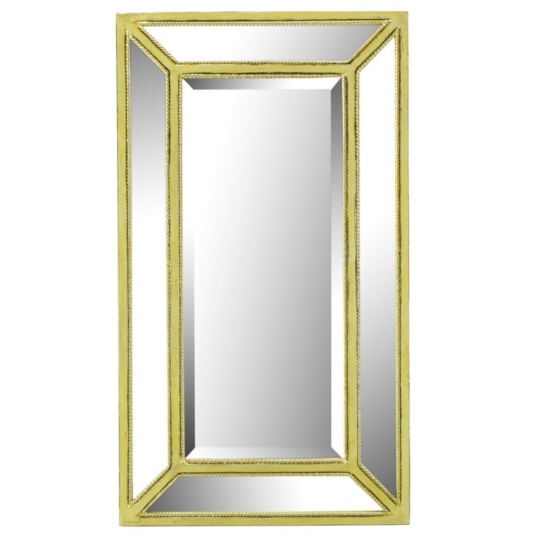 Italian Aged Silver Leaf Mirror with Rope Border For Sale
