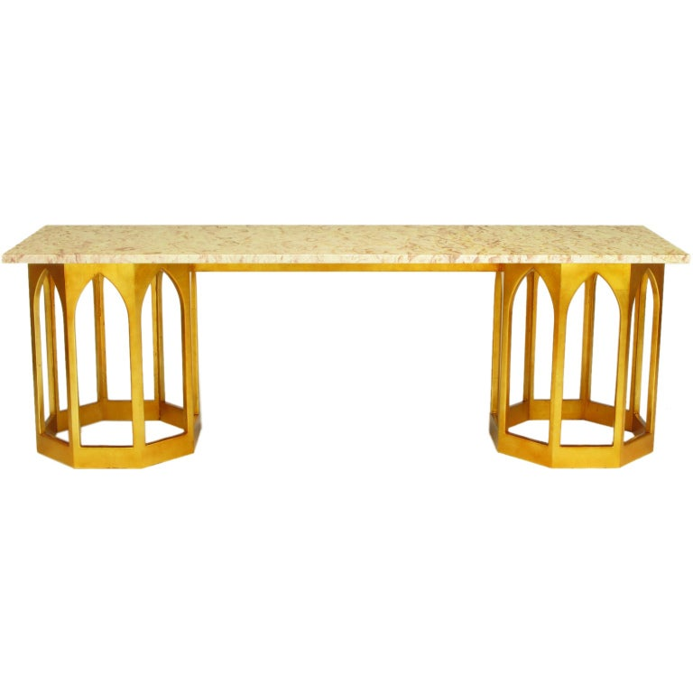 Marble Top Console Table With Twin Gilt Octagonal Bases At