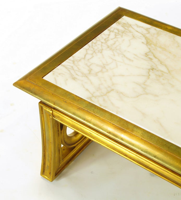 Gilt Wood And Calacatta Marble Neoclassical Coffee Table At 1stdibs