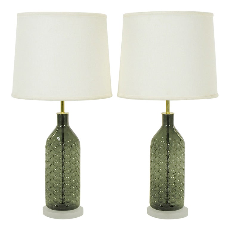 pair hand blown smoke bubble glass table lamps. Black Bedroom Furniture Sets. Home Design Ideas