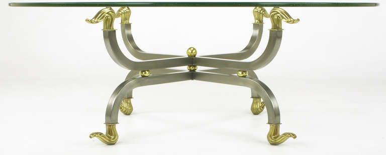 American Regency Brass & Gunmetal Coffee Table For Sale