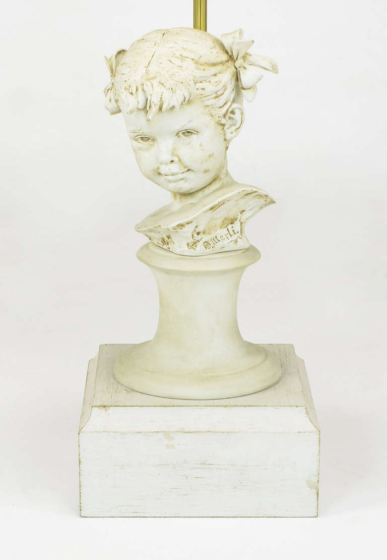 Bruno Merll for Marbro Capodimonte Child Bust Table Lamp In Excellent Condition For Sale In Chicago, IL