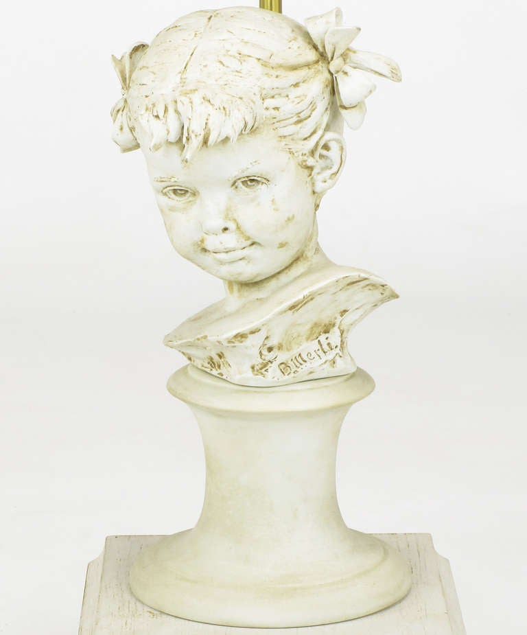 Mid-20th Century Bruno Merll for Marbro Capodimonte Child Bust Table Lamp For Sale