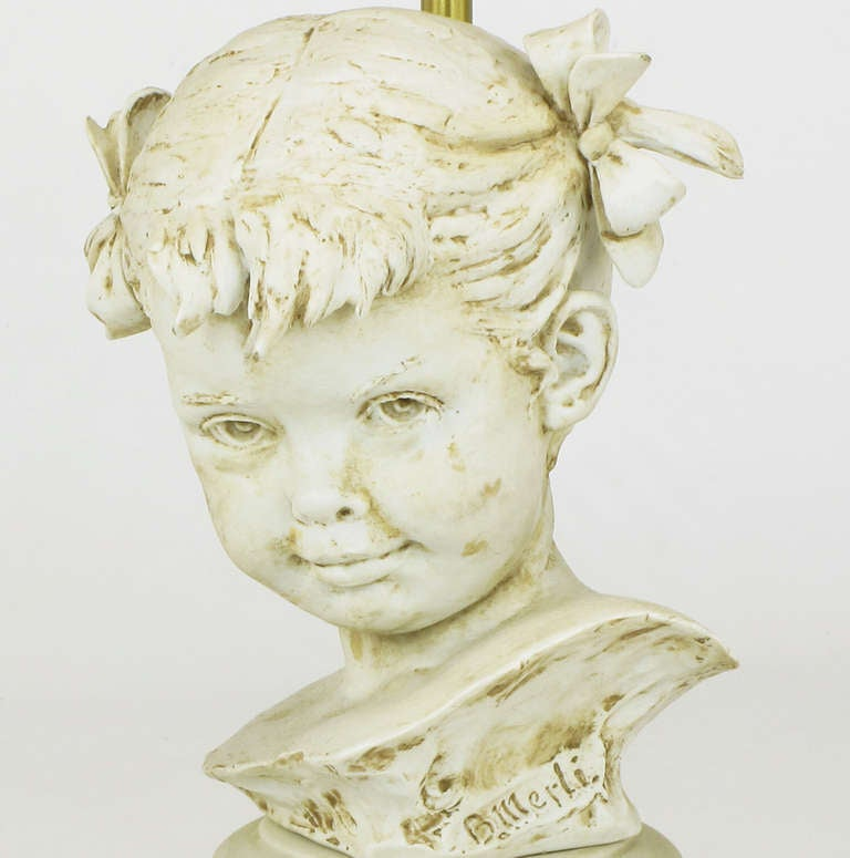 Brass Bruno Merll for Marbro Capodimonte Child Bust Table Lamp For Sale