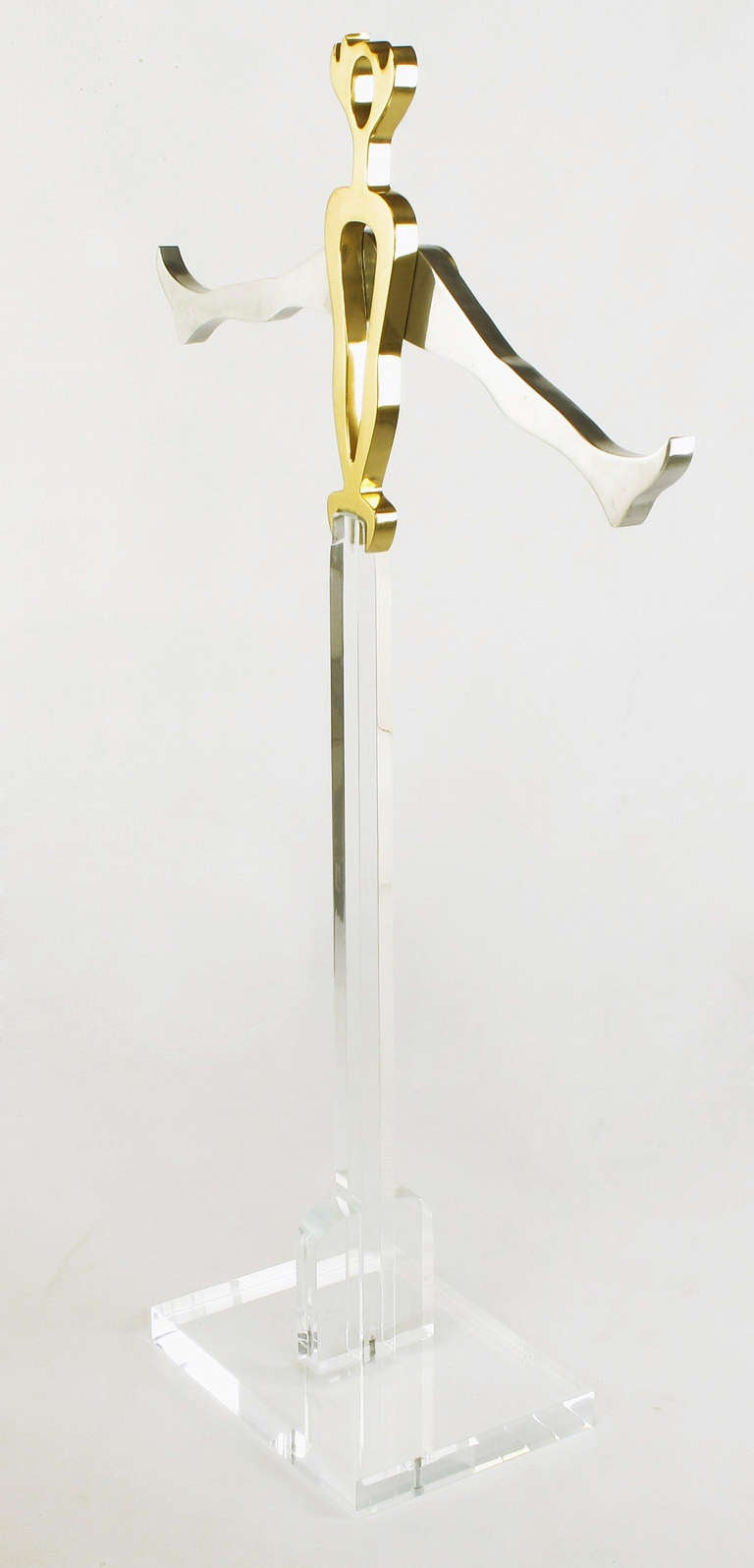Late 20th Century Eichengreem & Gensburg Brass and Aluminium Gymnast Sculpture on Lucite Stand For Sale