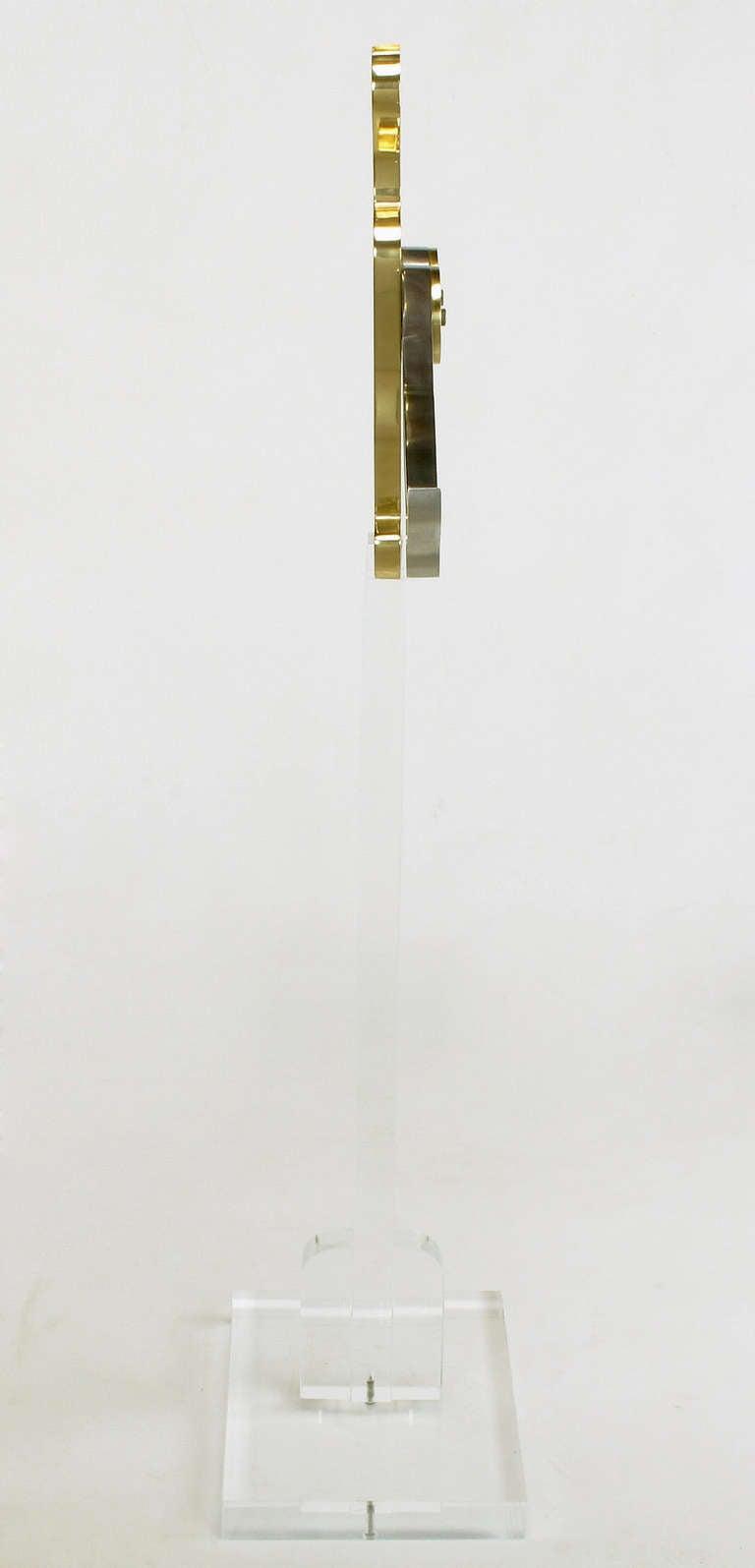 Eichengreem & Gensburg Brass and Aluminium Gymnast Sculpture on Lucite Stand For Sale 1