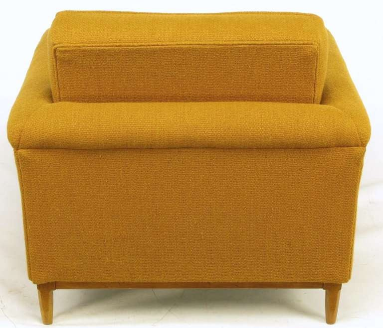 Rolled arm ochre wool lounge chair and ottoman at stdibs