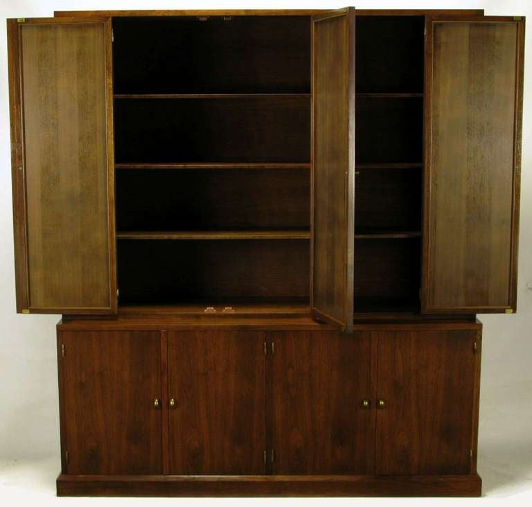 Custom Walnut Tall Cabinet With Inset Cane Panels At 1stdibs