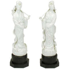 Pair Blanc De Chine Female Figure Table Lamps
