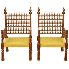 Pair Grand Moroccan Inspired Teak Open Fretwork & Rush Arm Chairs