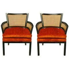 Pair Baker Ebonized Mahogany & Cane Button Tufted Arm Chairs