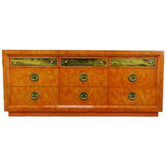 Custom Mastercraft Amboyna Burl and Acid Etched Brass Dresser