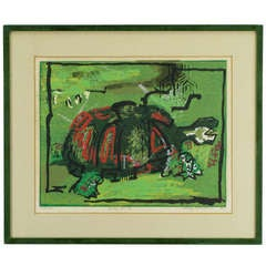 Colorful Turtle Block Print In Green, Red, Black & White