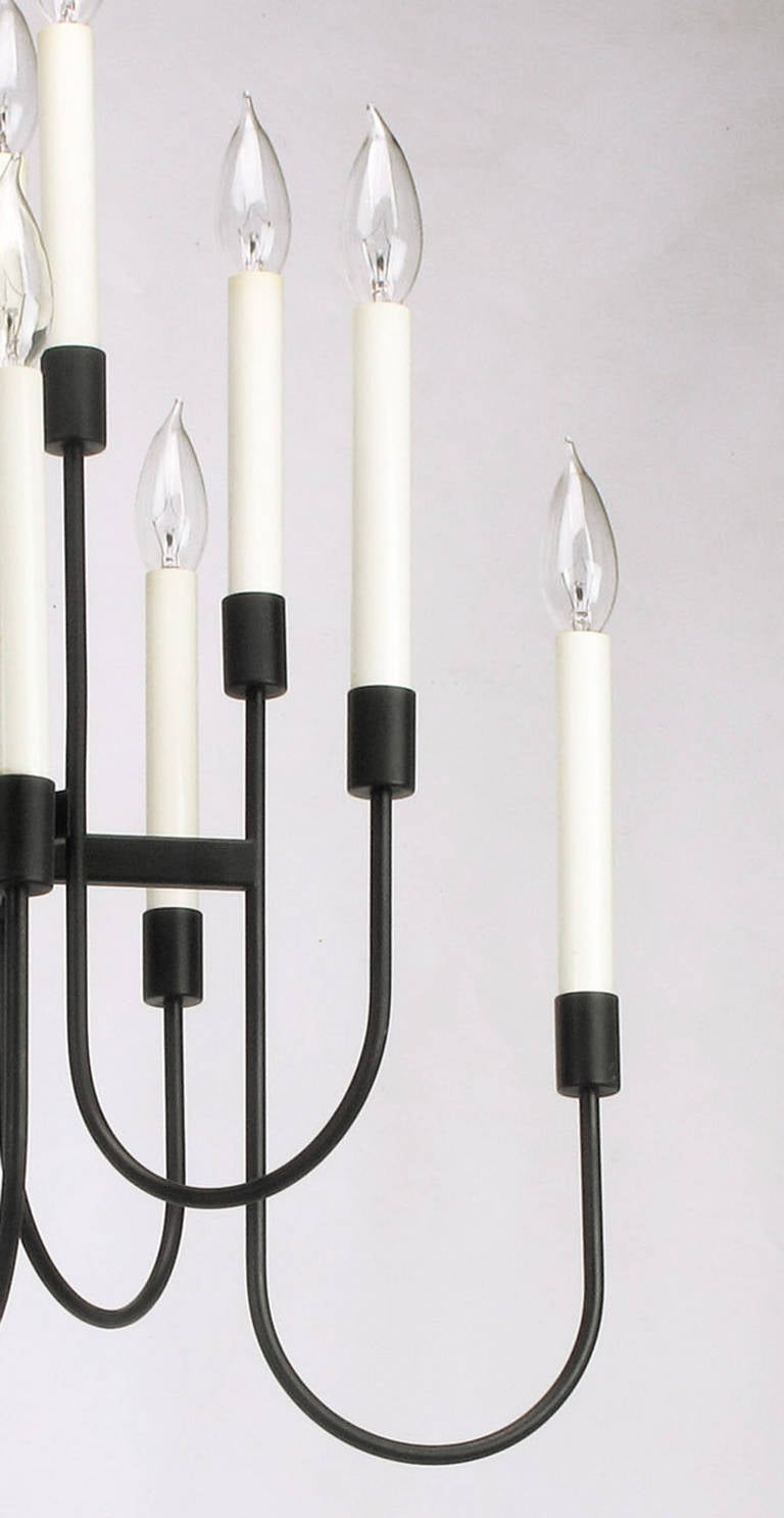Lightolier Sixteen-Arm, Black Lacquer Chandelier For Sale 1