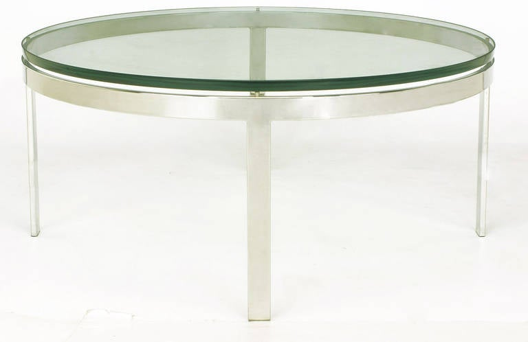 Round Nickel over Steel Floating Glass Coffee Table In Excellent Condition For Sale In Chicago, IL