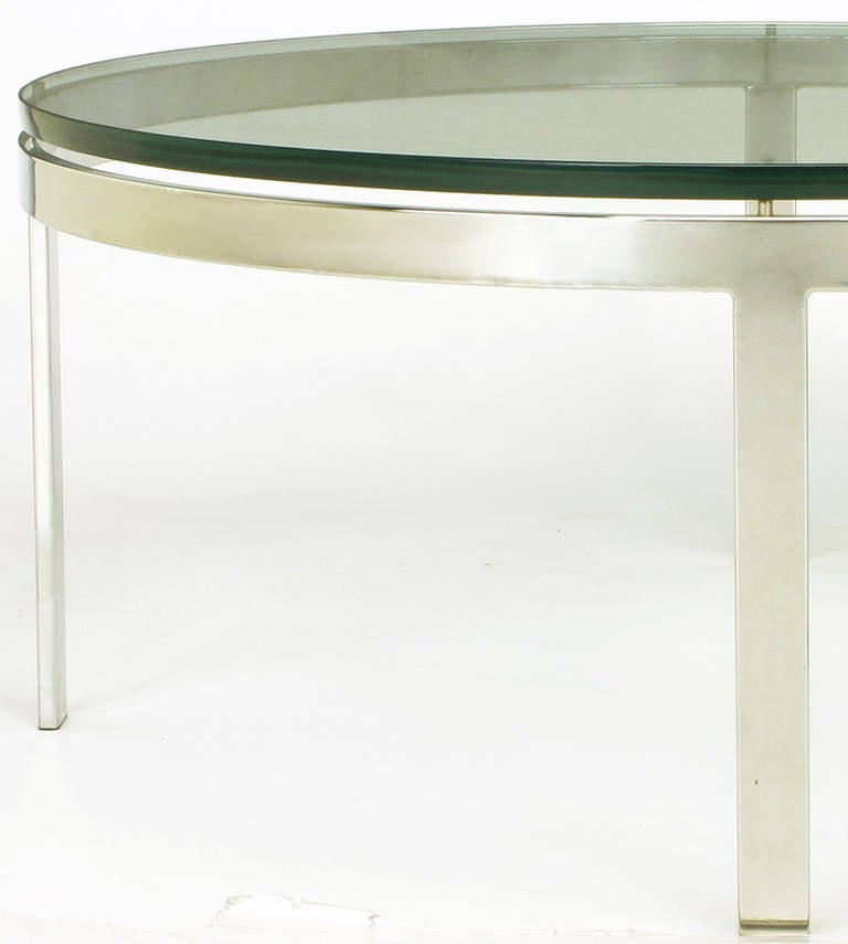 Round nickel over steel floating glass coffee table for for Round glass coffee tables for sale