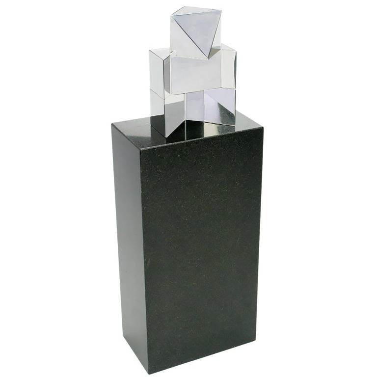 American Chrome Cubist Sculpture on Black Granite Pedestal For Sale
