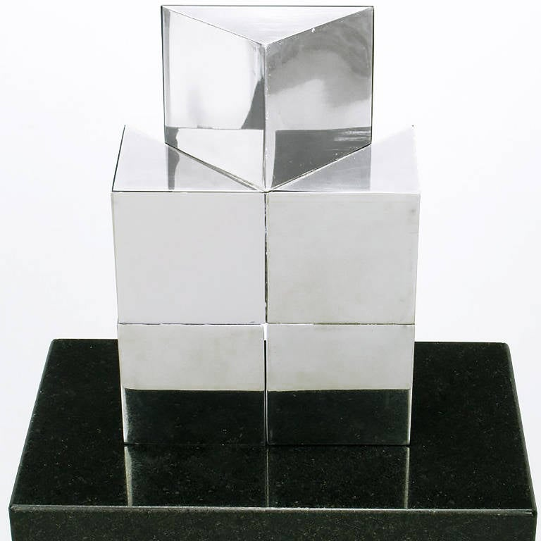 Chrome Cubist Sculpture on Black Granite Pedestal In Excellent Condition For Sale In Chicago, IL