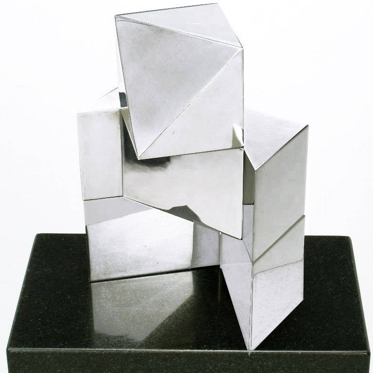Late 20th Century Chrome Cubist Sculpture on Black Granite Pedestal For Sale