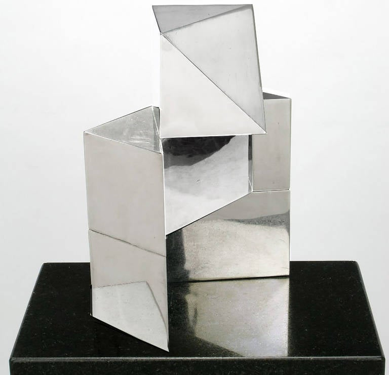Steel Chrome Cubist Sculpture on Black Granite Pedestal For Sale