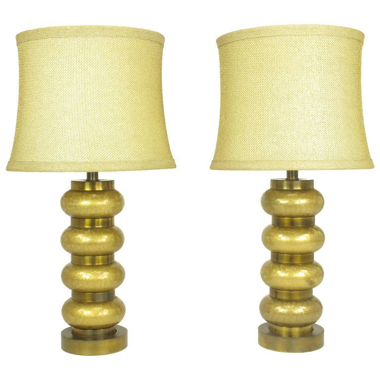 Pair of Paul Hanson Reverse Gilt Crackle Glass and Brass Table