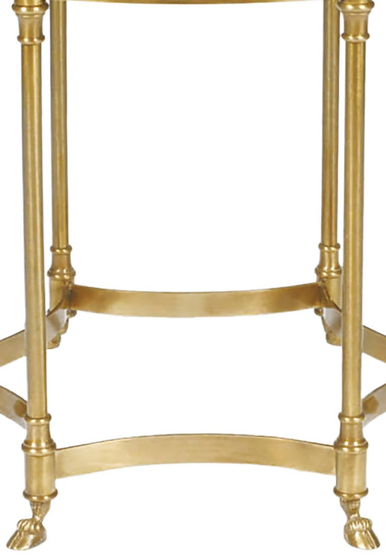 Labarge Hooved, Six-Leg Brass and Glass Side Table In Good Condition For Sale In Chicago, IL