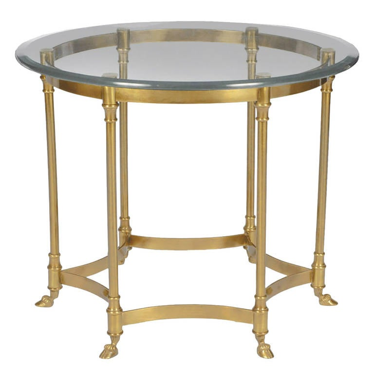 labarge hooved, six-leg brass and glass side table for sale at 1stdibs