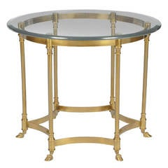 Labarge Hooved, Six-Leg Brass and Glass Side Table