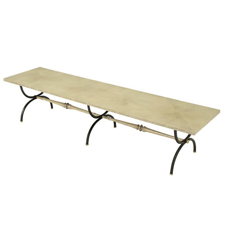 Tomlinson driftwood glazed coffee table with triple curule