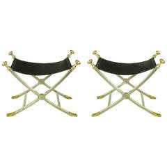 Pair of Black Leather and Brushed Nickel Benches with Brass Paws and Finials