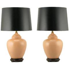 Pair Peach Crackle-Glaze Chinoiserie Table Lamps