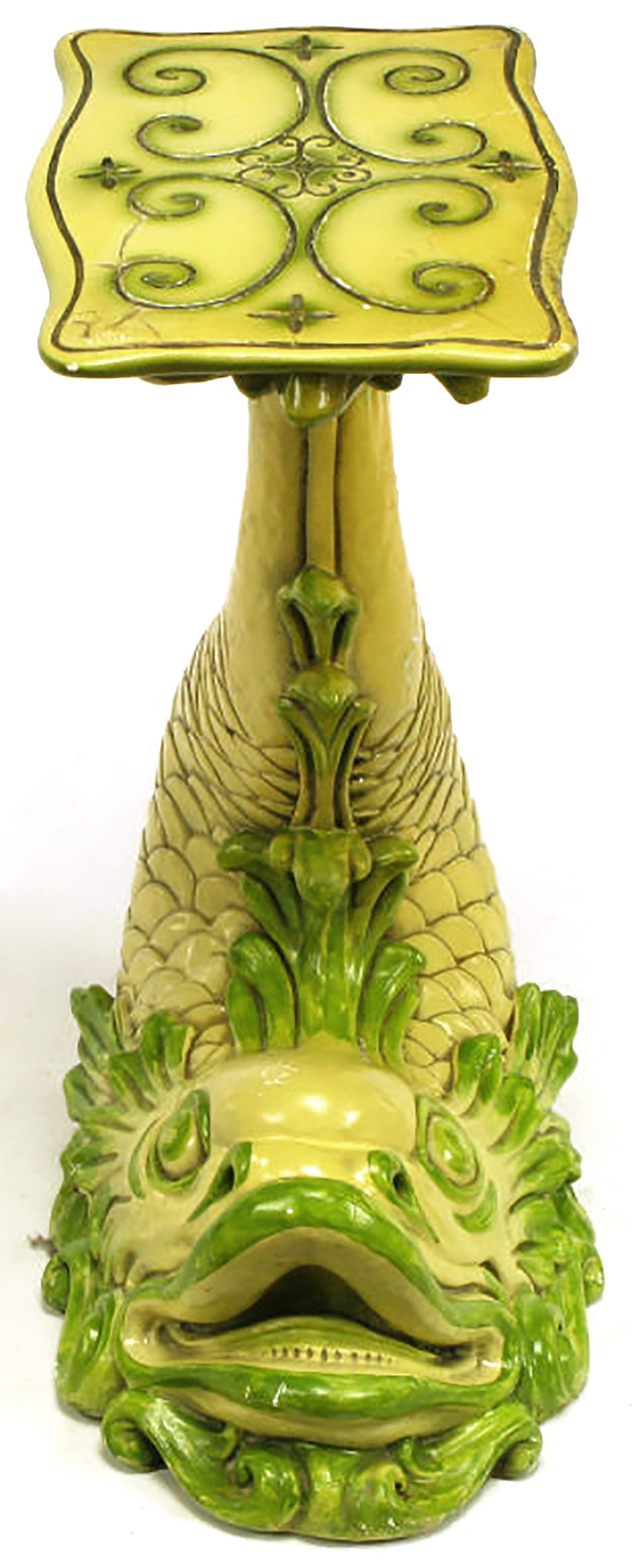 American Saffron Yellow & Moss Green Lacquered Dolphin Pedestal Table For Sale