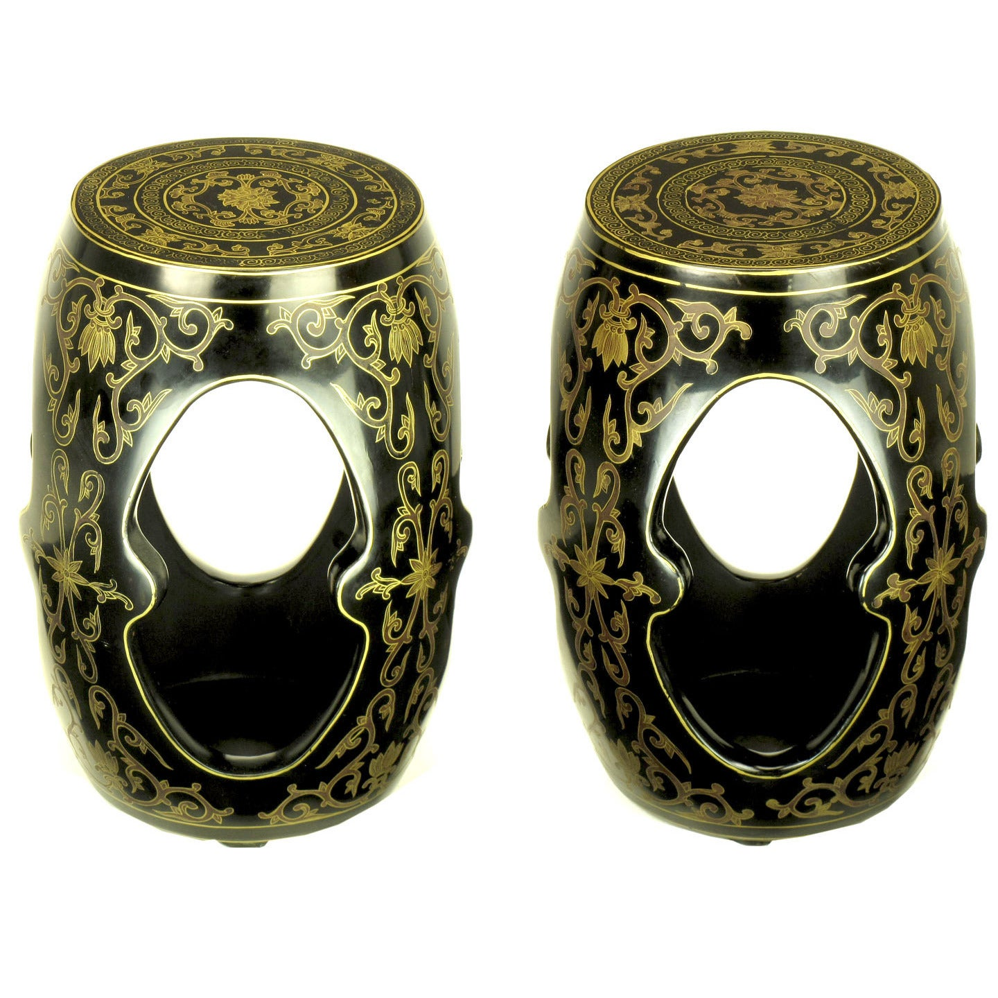 Pair of Lacquered and Parcel-Gilt Carved Wood Chinese Garden Seats