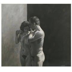 Robert Kinsell Charcoal and Gouache of Nude Couple