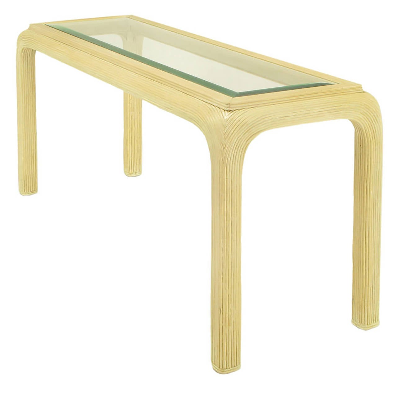 Ivory Glazed Reeded Rattan Console Table For Sale