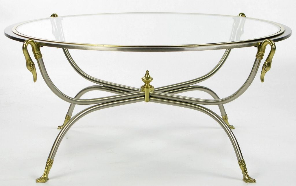 Swan Motif Italian Nickel and Brass Coffee Table In Good Condition For Sale In Chicago, IL