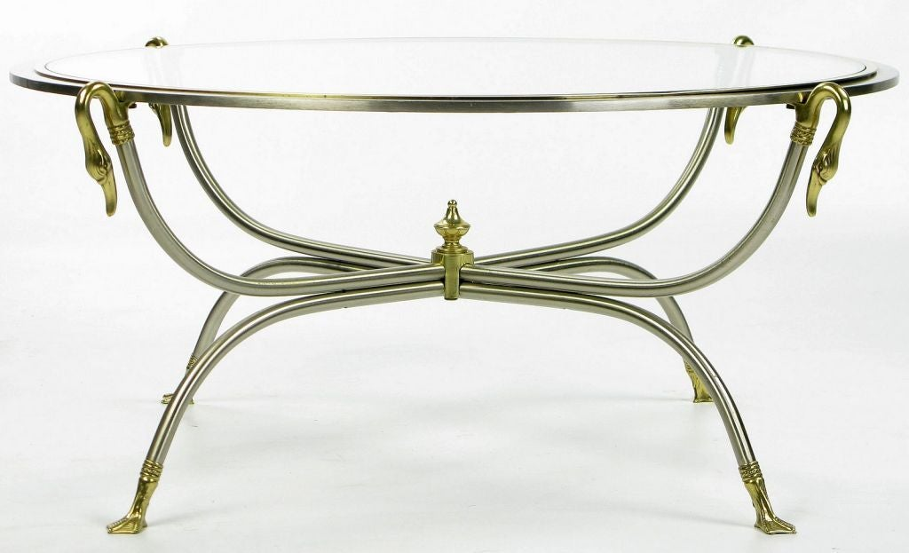 Mid-20th Century Swan Motif Italian Nickel and Brass Coffee Table For Sale