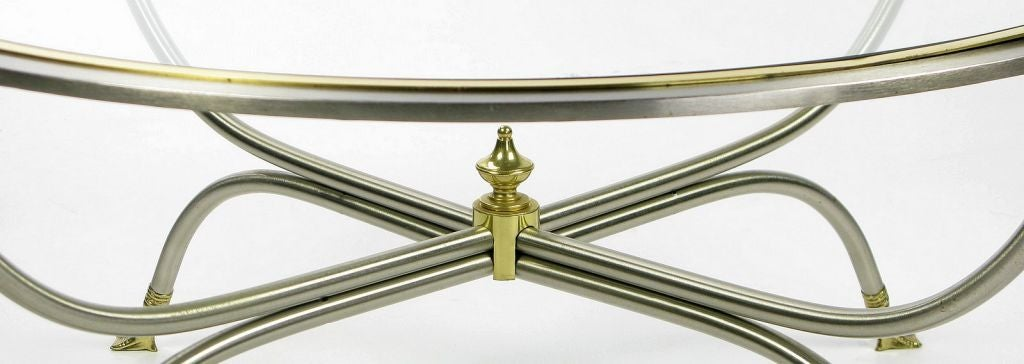 Swan Motif Italian Nickel and Brass Coffee Table For Sale 3