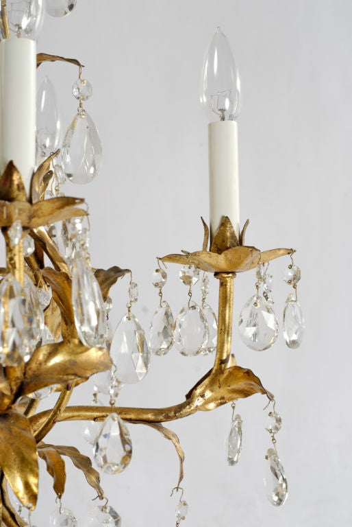 1940s Gilt Tole and Crystal Italian Chandelier In Good Condition For Sale In Chicago, IL