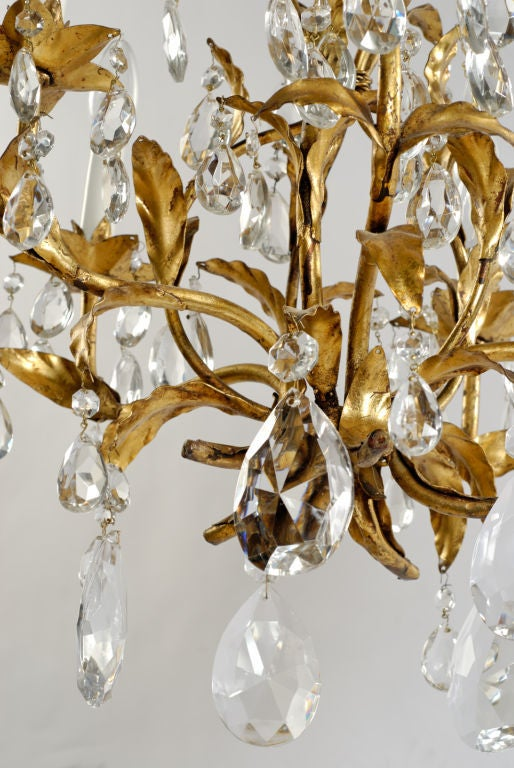 Metal 1940s Gilt Tole and Crystal Italian Chandelier For Sale