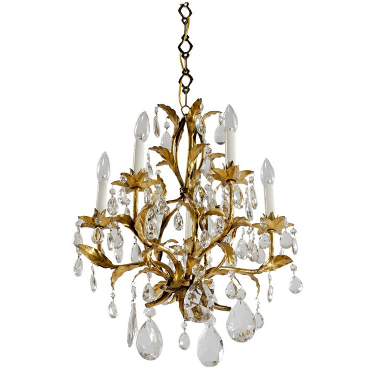 1940s Gilt Tole and Crystal Italian Chandelier For Sale