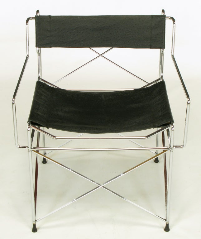 Pace Collection Chrome And Ostrich Leather Sling Chairs At