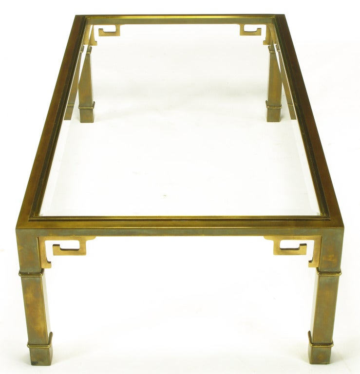 Mastercraft Patinated Brass Greek Key Coffee Table At 1stdibs